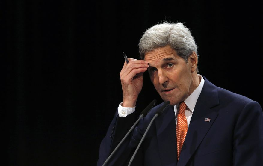 """Secretary of State John F. Kerry insisted that the Obama administration was clear that any nuclear deal should be viewed separately from overall U.S. criticisms of Iran's record at home and abroad. """"This plan was designed to address the nuclear issue alone, not to reform Iran's regime, or end its support for terrorism, or its contributions to sectarian violence in the Middle East,"""" he said. (Associated Press) ** FILE **"""