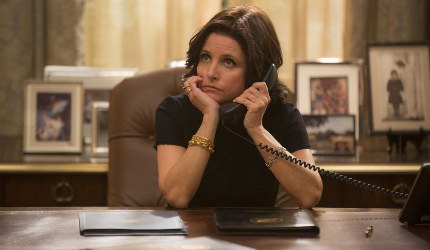 "In this image released by HBO, Julia Louis-Dreyfus appears in a scene from ""VEEP."" The series was nominated for an Emmy Award or outstanding comedy series on Thursday, July 16, 2015. Louis-Dreyfus was also nominated for outstanding actress in a comedy series. The 67th Annual Primetime Emmy Awards will take place on Sept. 20, 2015.  (Patrick Harbron/HBO via AP)"