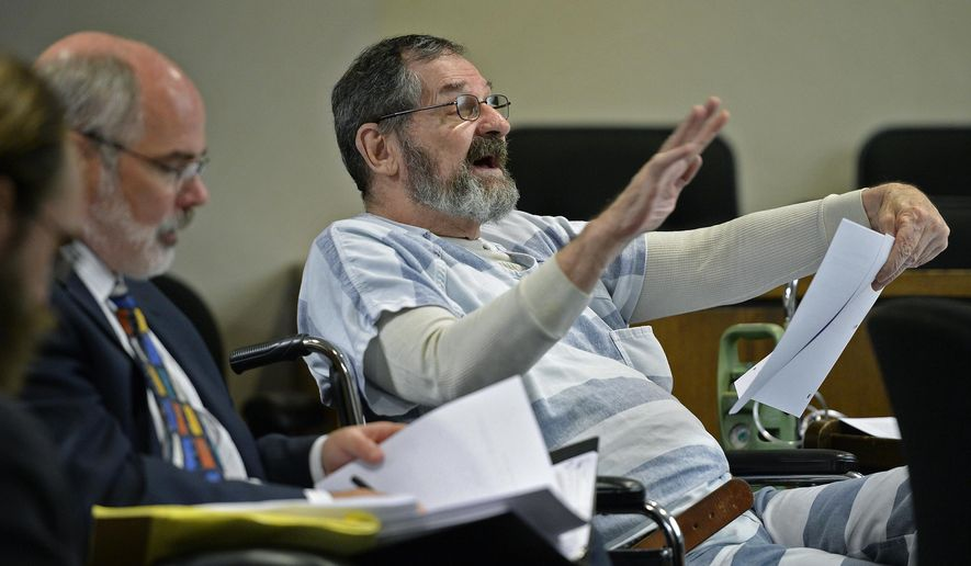 Frazier Glenn Miller Jr. gestures during pre-trial motions for his case at Johnson County District Court on Friday, July 17, 2015, in Olathe, Kan. A judge rejected a series of defense motions Friday in the death penalty case of the white supremacist charged with killing three people last year at two Jewish sites in Kansas. (Tammy Ljungblad/The Kansas City Star via AP) MANDATORY CREDIT