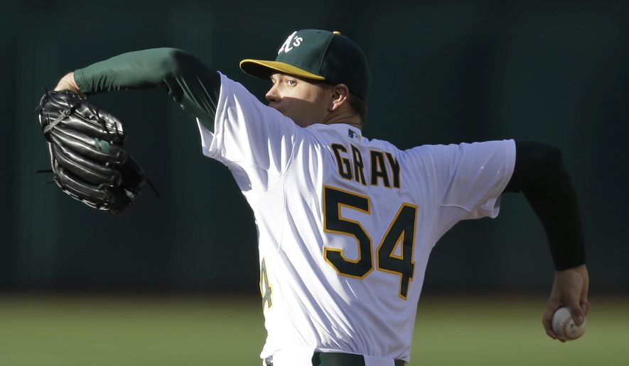 FILE - In this June 19, 2015, file photo, Oakland Athletics pitcher Sonny Gray works against the Los Angeles Angels during a baseball game in Oakland, Calif. The season resumes after the four-day All-Star break. Gray (10-3), a first-time All-Star who didn't get into the game, starts for Oakland at home against Minnesota. Ervin Santana starts for the Twins after getting a pair of no-decisions in his return from an 80-game drug suspension. (AP Photo/Ben Margot, File)