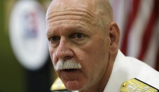 U.S. Pacific Fleet Commander Adm. Scott Swift talks during an interview with journalists Friday, July 17, 2015 in Manila, Philippines.  The new U.S. commander of the Pacific Fleet has assured allies that American forces are well-equipped and ready to respond to any contingency in the South China Sea, where long-seething territorial disputes have set off widespread uncertainties. (AP Photo/Bullit Marquez)