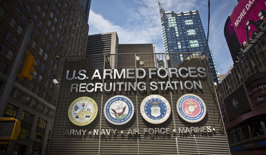 The Times Square military recruiting station displays insignia for each military branch, Friday, July 17, 2015, in New York.  Security at military recruiting and reserve centers will be reviewed in the aftermath of a deadly shooting in Tennessee. (AP Photo/Bebeto Matthews)