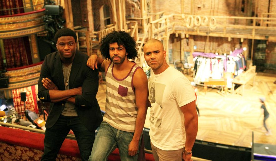 "CORRECTS ID'S FROM LEFT TO RIGHT - This July 10, 2015 photo released by Sam Rudy Media Relations shows, from left, Okieriete Onaodowan, Daveed Diggs, and Christopher Jackson inside the Richard Rogers Theatre in New York. The three actors portray U.S. presidents in the groundbreaking hip-hop musical ""Hamilton."" (Shane Marshall Brown/Sam Rudy Media Relations via AP)"