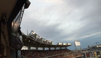 Failed lights at Nationals Park caused a lengthy delay Friday night. / Dan Roth, The Washington Times