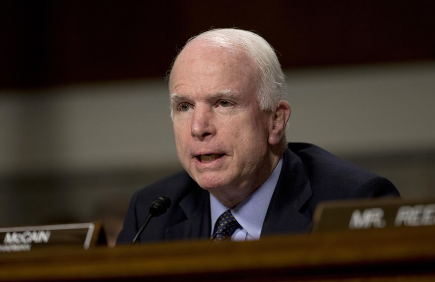 Senate Armed Services Committee Chairman Sen. John McCain, Arizona Republican, speaks during a committee hearing on Capitol Hill in Washington on July 7, 2015. (Associated Press) **FILE**
