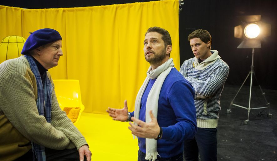 "In this image released by NBC, Per Svensson, from left, Jason Priestley, and Greg Poehler appear in a scene from ""Welcome to Sweden."" The second season of comedy series premieres on Sunday at 8 p.m. EDT on NBC. (Frederik Hjerling/TV4 AB/NBC via AP)"