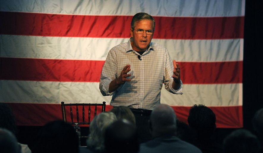 Republican presidential candidate Jeb Bush speaks during a town hall meeting at the Silver State Charter School in Carson City, Nev. on Friday, July 17, 2015. (Jason Bean/The Reno Gazette-Journal via AP)  NO SALES; NEVADA APPEAL OUT; SOUTH RENO WEEKLY OUT; MANDATORY CREDIT