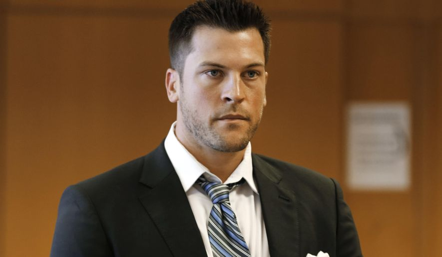 FILE - In this Aug. 21, 2014, file photo, former Detroit Tigers pitcher Evan Reed appears at his preliminary hearing on a sexual assault charge in Detroit. Evan Reed has pleaded no contest to misdemeanor aggravated assault and is expected to be placed on probation to resolve a sexual assault case. Reed entered the plea Friday, July 17, 2015, in Detroit in an agreement with prosecutors.  (AP Photo/Paul Sancya, File)