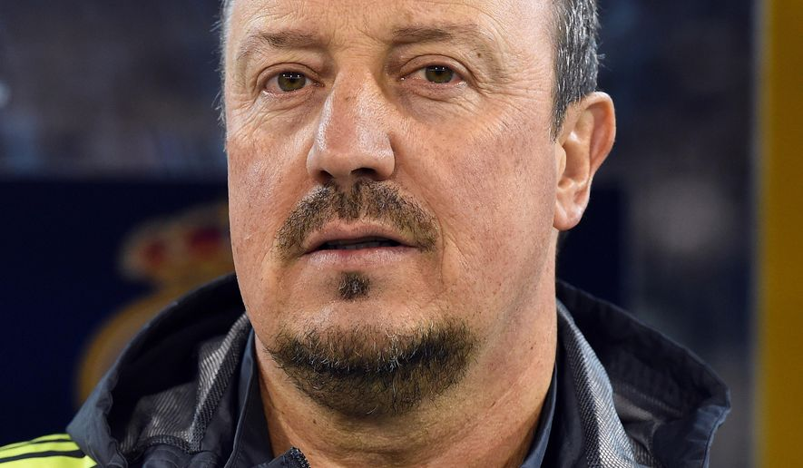 Real Madrid coach Rafael Benitez before the game against AS Roma at the International Championship Cup soccer match in Melbourne, Australia, Saturday, July. 18, 2015. ( AP Photo/Andy Brownbill)