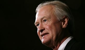 Democratic presidential candidate former Rhode Island Gov. Lincoln Chafee speaks during the Iowa Democratic Party's Hall of Fame Dinner, Friday, July 17, 2015, in Cedar Rapids, Iowa. (AP Photo/Charlie Neibergall)