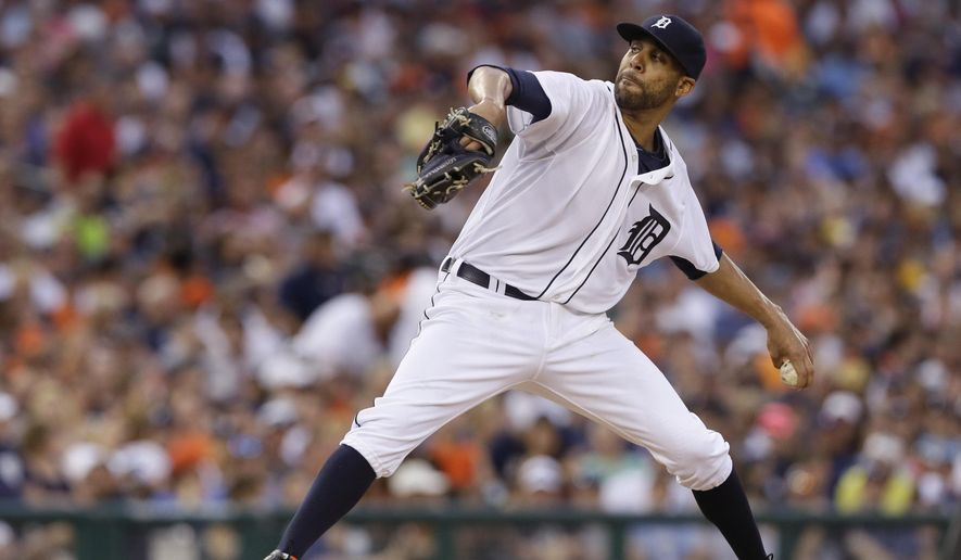Detroit Tigers starting pitcher David Price throws during the third inning of a baseball game against the Baltimore Orioles, Saturday, July 18, 2015, in Detroit. (AP Photo/Carlos Osorio)