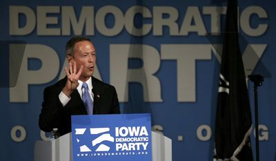 Democratic presidential candidate and former Maryland Gov. Martin O'Malley speaks during the Iowa Democratic Party's Hall of Fame dinner  in Cedar Rapids, Iowa, on July 17, 2015. (Associated Press) **FILE**