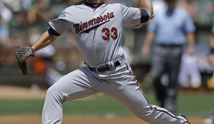 Minnesota Twins pitcher Tommy Milone works against the Oakland Athletics in the first inning of a baseball game Sunday, July 19, 2015, in Oakland, Calif. (AP Photo/Ben Margot)