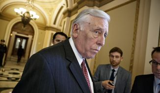 House Minority Whip Steny Hoyer, Maryland Democrat, leaves the House Chamber at the Capitol in Washington on Feb. 27, 2015. (Associated Press) **FILE**