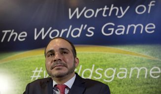 Jordan's Prince Ali bin al-Hussein attends a press conference for the launch of his FIFA presidency campaign, in London, in this Feb. 3, 2015, file photo. (AP Photo/Matt Dunham, File)
