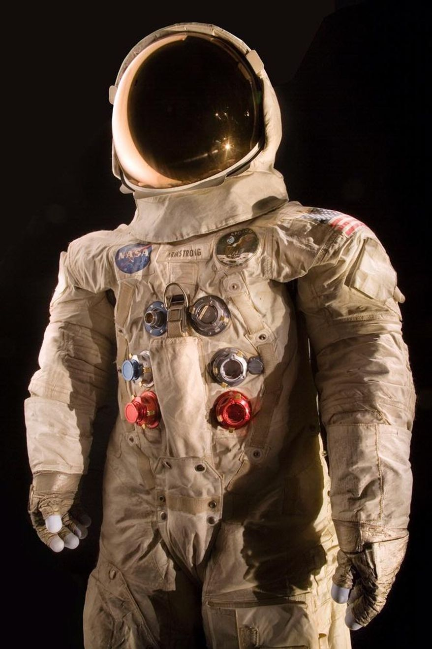 This handout photo provided by the National Air and Space Museum, Smithsonian Institution shows the spacesuit worn by astronaut Neil Armstrong, Commander of the Apollo 11 mission, which landed the first man on the moon on July 20, 1969. (Eric Long/National Air and Space Museum, Smithsonian Institution via AP)