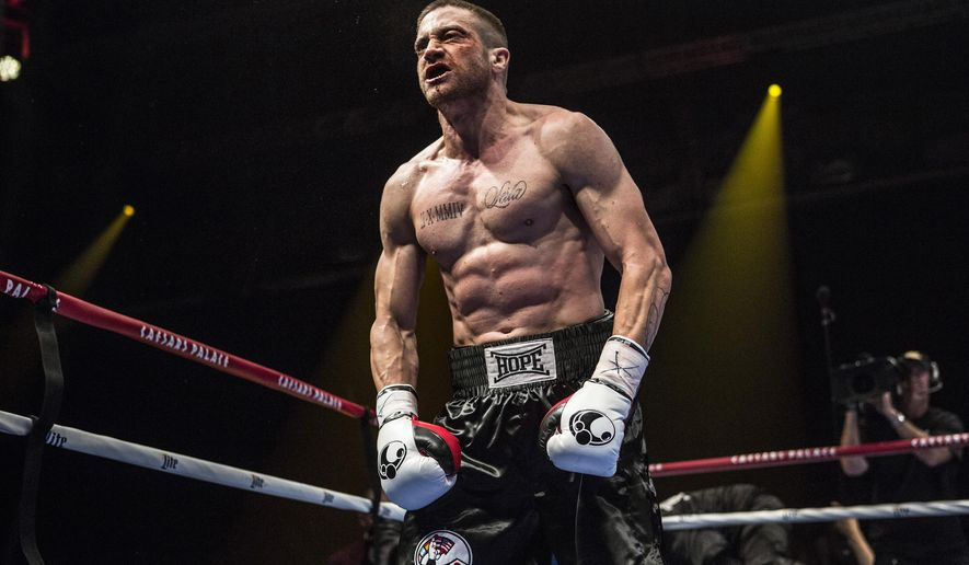 "This photo provided by The Weinstein Company shows Jake Gyllenhaal as Billy Hope, in the film, ""Southpaw."" The movie releases in the U.S. on July 24, 2015.  (Scott Garfield/The Weinstein Company via AP)"