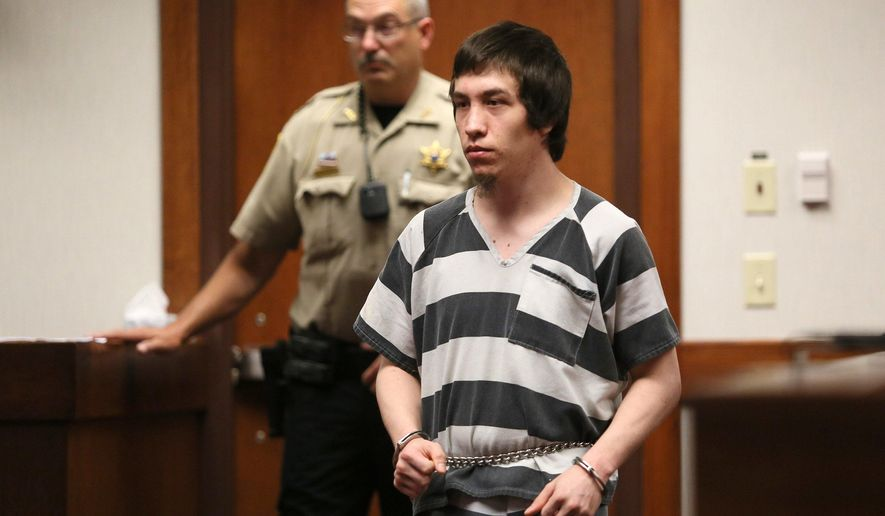 Joseph Colby, 22, appears before Allegan County Circuit Court Judge Margaret Zuzich Bakker for sentencing in the killing of his three-month-old son, Monday, July 20, 2015, in Kalamazoo, Mich. (Mark Bugnaski /Kalamazoo Gazette-MLive Media Group via AP) ALL LOCAL TELEVISION OUT; LOCAL TELEVISION INTERNET OUT