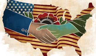 "Illustration on the values of ""flyover"" America by Linas Garsys/The Washington Times"