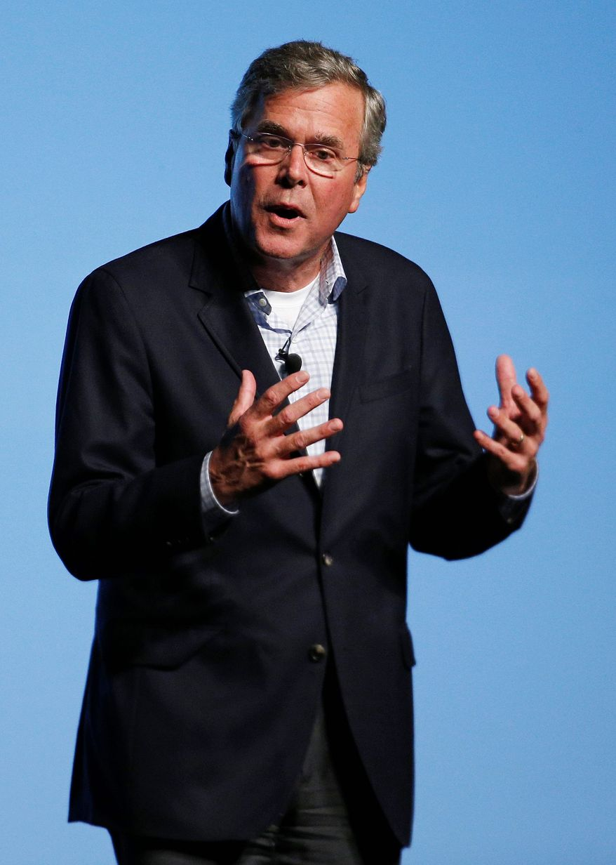 Republican presidential candidate former Florida Gov. Jeb Bush Tuesday vowed that if elected, he would take on the political establishment, cut federal spending and shrink the government. (Associated Press)