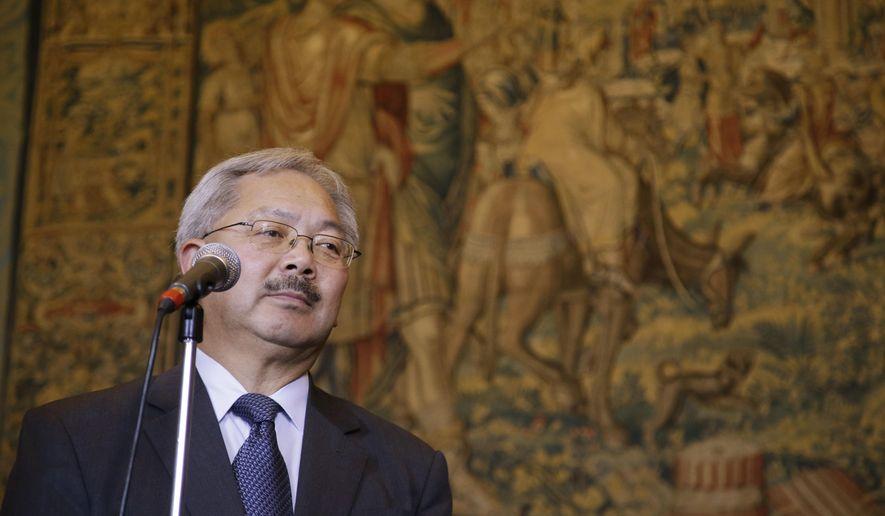San Francisco Mayor Edwin Lee stands after meeting Rome Mayor Ignazio Marino in Rome Monday, July 20, 2015. (AP Photo/Gregorio Borgia) ** FILE **