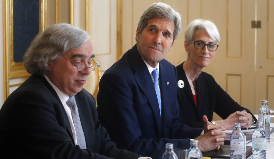 Energy Secretary Ernest Moniz sits with Secretary of State John Kerry and Undersecretary for Political Affairs Wendy Sherman during a meeting with Iranian Foreign Minister Javad Zarif in Vienna, Austria.  Moniz, the eccentric MIT professor-turned-U.S. Energy secretary, by all accounts played a pivotal role in reaching the historic nuclear accord. Now with his diplomatic legacy on the line, President Barack Obama is turning to Moniz to help sell the deal to a highly skeptical Congress. (Carlos Barria/Pool via AP, File/June 30, 2015 file-pool photo)