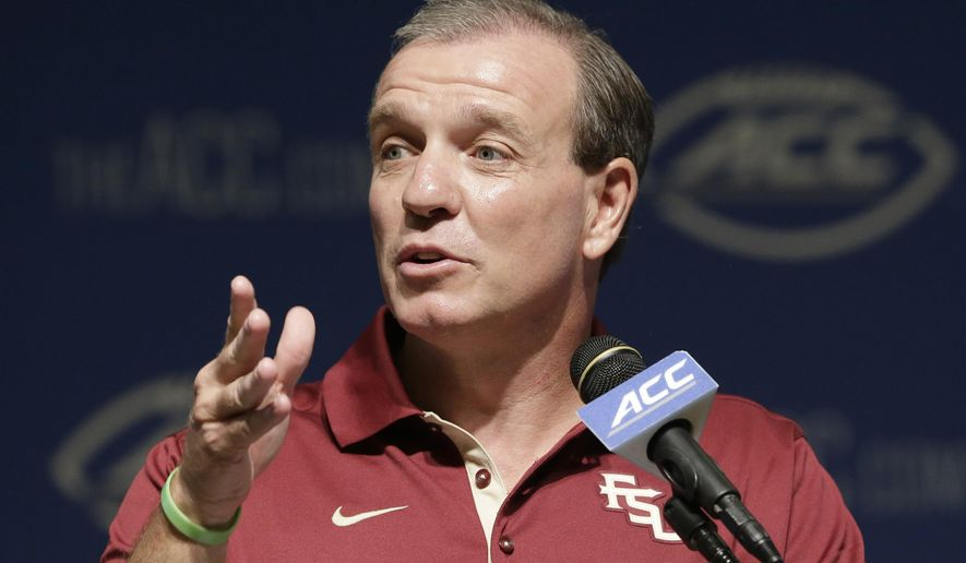 Florida State coach Jimbo Fisher responds to questions during the ACC NCAA college football kickoff in Pinehurst, N.C., Tuesday, July 21, 2015. (AP Photo/Gerry Broome)