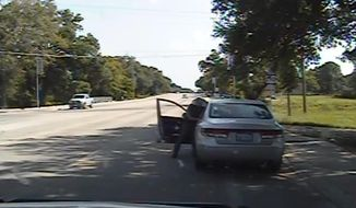 In this July 10, 2015, frame from dashcam video provided by the Texas Department of Public Safety, trooper Brian Encinia reaches into the car to arrest Sandra Bland after she became combative during a routine traffic stop in Waller County, Texas. Bland was taken to the Waller County Jail that day and was found dead in her cell on July 13. (Texas Department of Public Safety via AP)