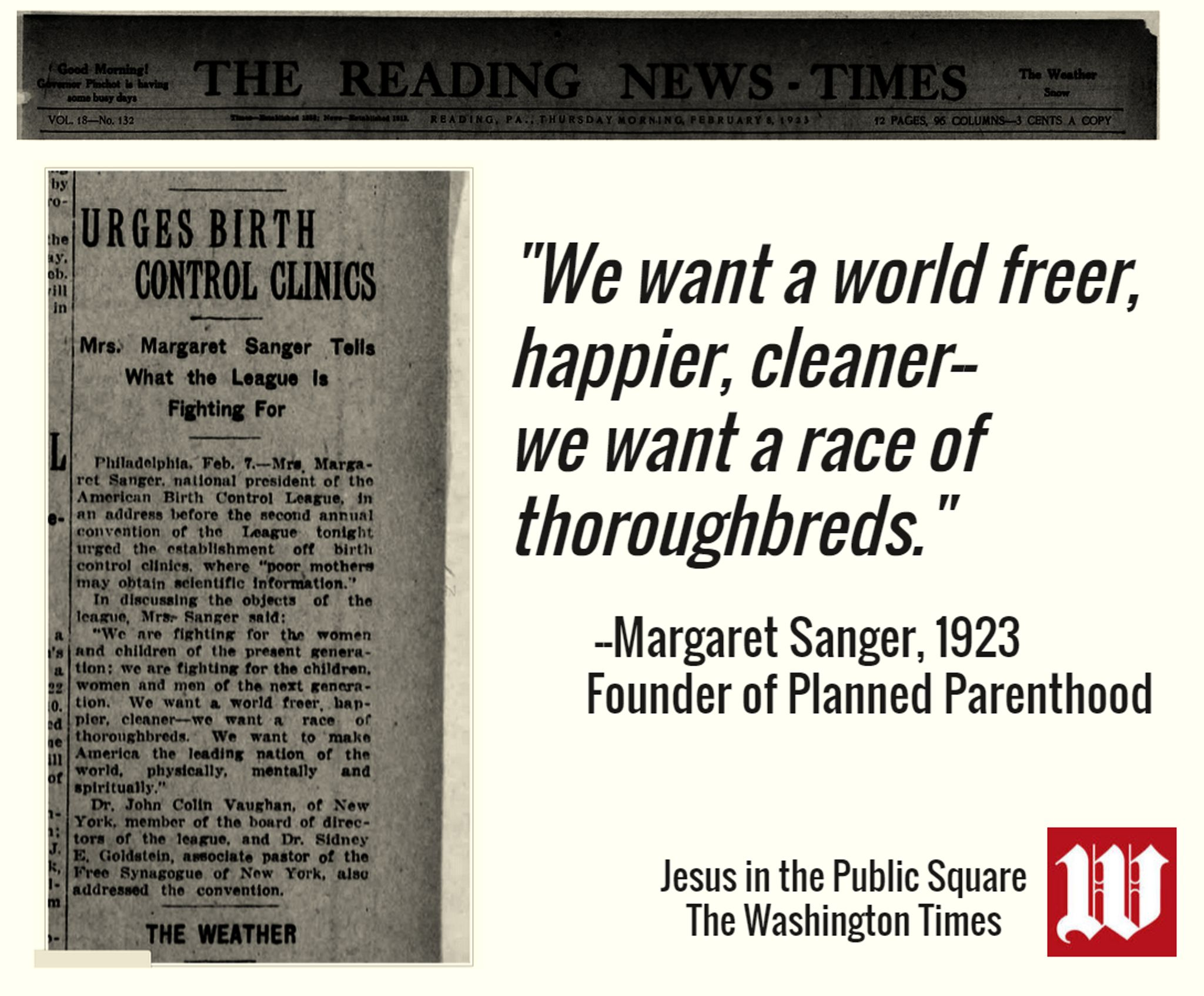 W. SCOTT LAMB: Margaret Sanger wanted a race of thoroughbreds - Washington  Times