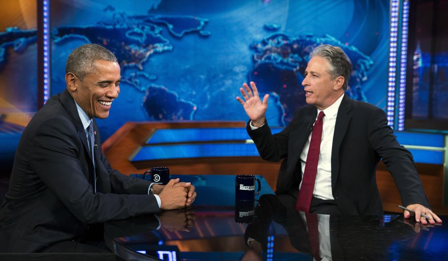 """President Barack Obama, left, talks with Jon Stewart, host of """"The Daily Show"""" during a taping on Tuesday, July 21, 2015, in New York. (AP Photo/Evan Vucci)"""