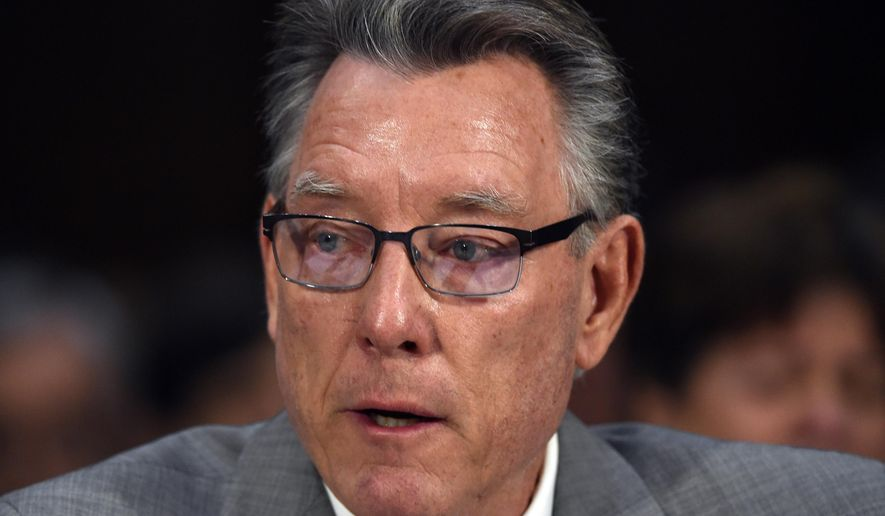 Jim Steinle, father of Kathryn Steinle, killed on a San Francisco Pier by a man previously deported several times, testiifies a Senate Judiciary hearing in Washington, Tuesday, July 21, 2015. Steinle told the Senate Judiciary Committee that Congress should push forward with efforts to close legal loopholes that currently allow local authorities to decide if they will cooperate with federal immigration authorities.   (AP Photo/Molly Riley)