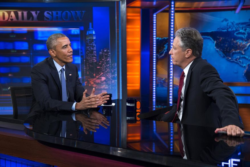 "President Barack Obama, left, talks with Jon Stewart, host of ""The Daily Show"" during a taping, on Tuesday, July 21, 2015, in New York. (AP Photo/Evan Vucci)"