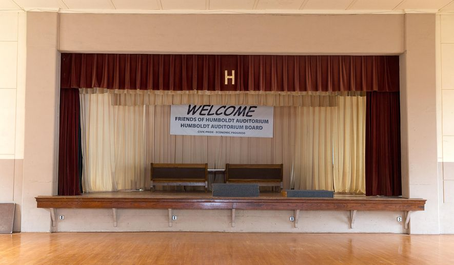 The stage of the Humboldt Auditorium is shown on Wednesday, July 8, 2015, in Humboldt, Neb. Organizers say a $2.5 million renovation will make the Humboldt Auditorium a hub for events in the region, in hopes of revitalizing this town (Megan Farmer/The World-Herald via AP)