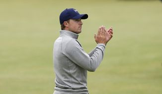 United States' Jordan Spieth applauds after finishing the final round at the British Open Golf Championship at the Old Course, St. Andrews, Scotland, Monday, July 20, 2015. (AP Photo/Jon Super)