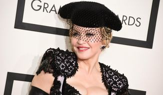 In this Feb. 8, 2015, file photo, Madonna arrives at the 57th annual Grammy Awards in Los Angeles. The pop icon will launch her Rebel Heart Tour this fall, which includes more than 60 shows across North America, Europe, Australia and Asia. (Photo by Jordan Strauss/Invision/AP, File)