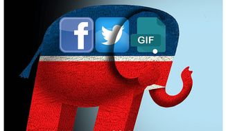 Illustration on GOP's expanded campaigning on social media by Alexander Hunter/The Washington Times