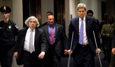 messengers: Secretary of State John F. Kerry and Secretary of Energy Ernest Moniz visited Capitol Hill on Wednesday for a classified House briefing about the deal to curb Iran's nuclear program in exchange for relief from international sanctions. (Associated Press)