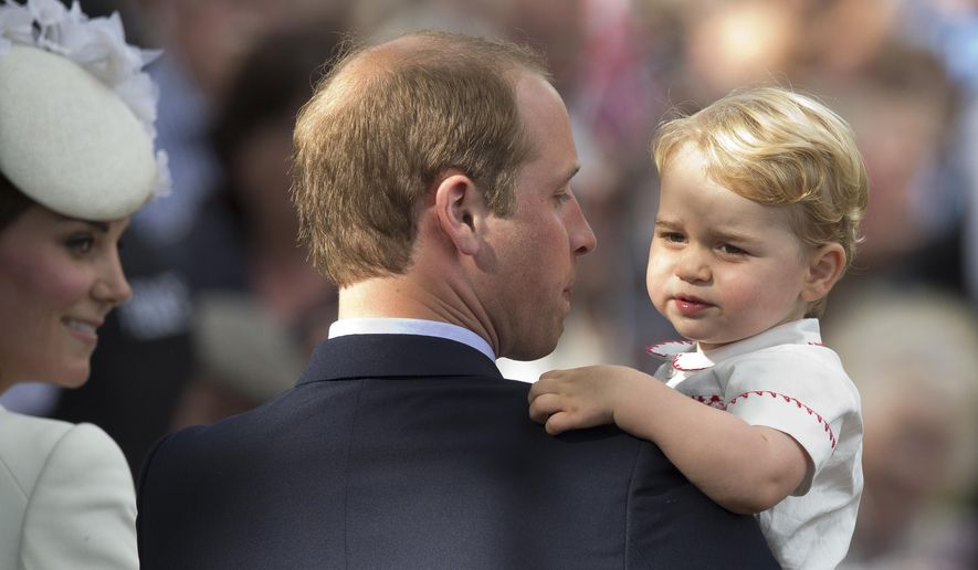 In this Sunday, July 5, 2015, file photo, Britain's Prince William, Kate the Duchess of Cambridge and their son Prince George leave after their daughter Princess Charlotte's Christening at St. Mary Magdalene Church in Sandringham, England. (AP Photo/Matt Dunham, file)