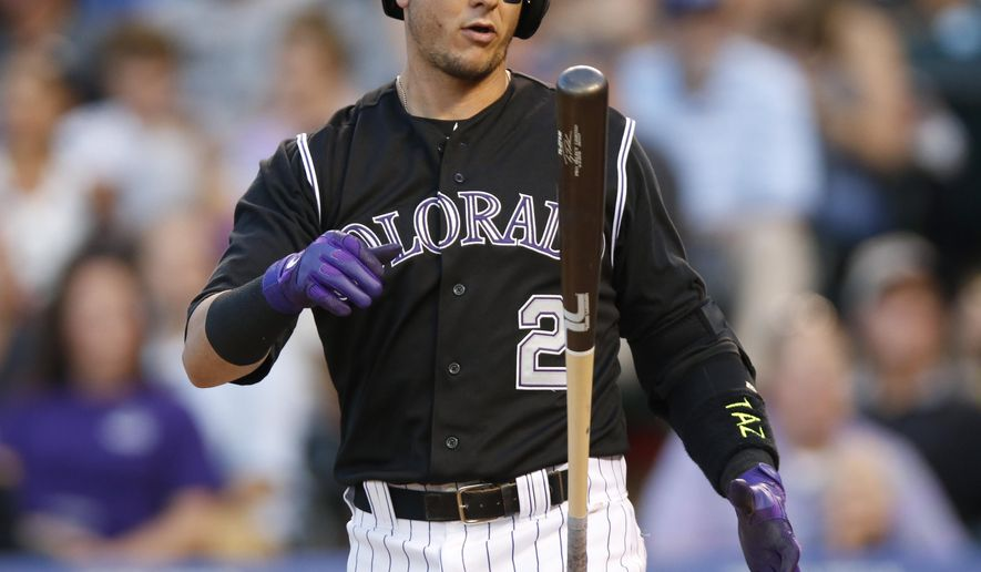 Colorado Rockies' Troy Tulowitzki  reacts after swinging at and missing a pitch from Texas Rangers starting pitcher Matt Harrison in the third inning of an inter league baseball game Tuesday, July 21, 2015, in Denver. (AP Photo/David Zalubowski)