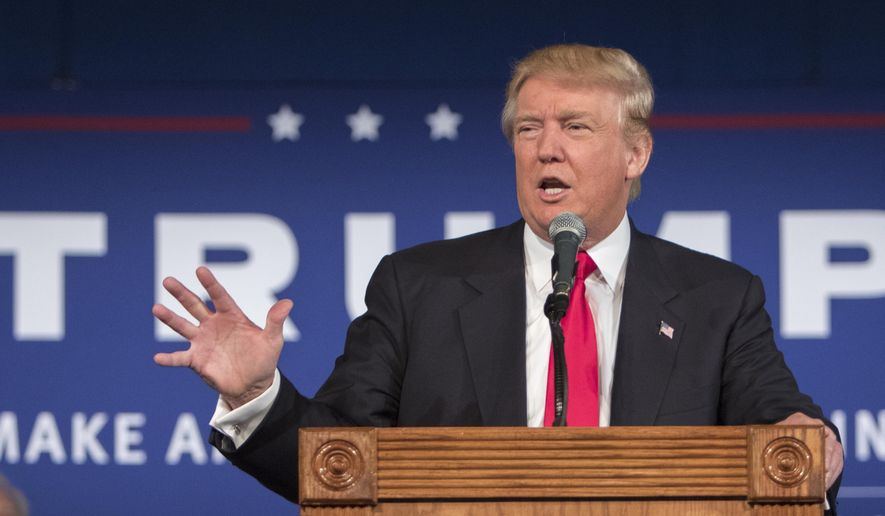 Republican presidential hopeful Donald Trump speaks at his South Carolina campaign kickoff rally in Bluffton, S.C., Tuesday, July 21, 2015.  (AP Photo/Stephen B. Morton) ** FILE **