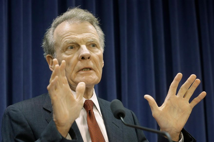 Illinois Speaker of the House Michael Madigan, D-Chicago, speaks to reporters at the Illinois State Capitol Tuesday, July 21, 2015, in Springfield Ill. lllinois Gov. Bruce Rauner criticized Madigan on Tuesday for not stopping a pay hike for lawmakers while Illinois struggles without a state spending plan. (AP Photo/Seth Perlman)