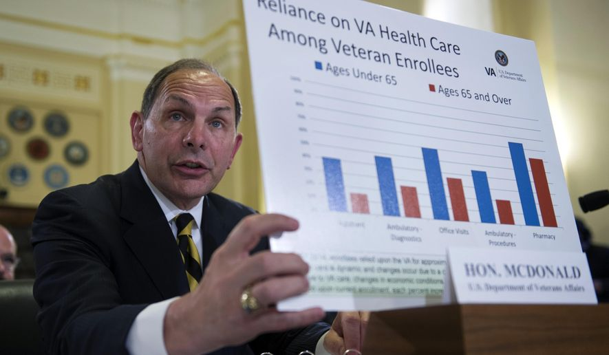 Verterans Affairs Secretary Robert McDonald holds a chart as he testifies about pending Veteran Affairs health care budget shortfall and system shutdown at a House Veterans Affairs Committee hearing on Capitol Hill in Washington, Wednesday, July 22, 2015. (AP Photo/Cliff Owen)