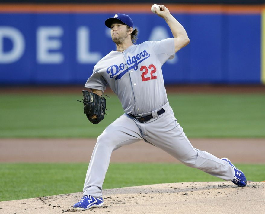 Los Angeles Dodgers' Clayton Kershaw delivers a pitch during the first inning of a baseball game against the New York Mets Thursday, July 23, 2015, in New York. (AP Photo/Frank Franklin II)