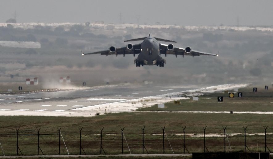 FILE - In this Sept. 1, 2013, file photo, a U.S. Air Force plane takes off from the Incirlik airbase, in southern Turkey. Turkey has agreed to let the U.S. military use the key air base near the border with Syria to launch airstrikes against the Islamic State, senior Obama administration officials said July 23, 2015, giving a boost to the U.S.-led coalition amid a surge of violence in Turkey blamed on IS-linked militants.(AP Photo/Vadim Ghirda, File)