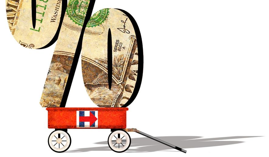 Illustration on Hillary's proposed increase in the capital gains tax by Alexander Hunter/The Washington Times