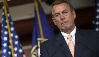 """""""Listen, this is one member,"""" House Speaker John A. Boehner said at his weekly press conference at the Capitol. """"I've got broad support among my colleagues. And frankly, it isn't even deserving of a vote."""" (Associated Press)"""