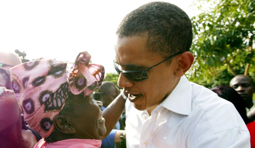In this Saturday, Aug. 26, 2006, file photo, then U.S. Sen. Barack Obama meets with his step-grandmother Sarah Obama at his father's house in Kogelo, western Kenya. On Friday, July 24, 2015, Obama is due to arrive in Kenya, the country of his father's birth, for the first time since he was a U.S. senator in 2006, and the first stop on his two-nation African tour in which he will also visit Ethiopia. (AP Photo/Sayyid Azim, File) **FILE**