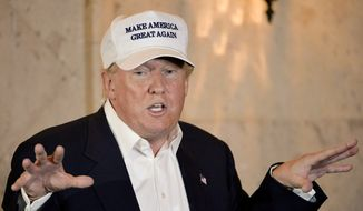 """""""There's great danger with the illegals,"""" Donald Trump said shortly after touring a section of the U.S.-Mexico border near Laredo, Texas. """"We have a tremendous danger on the border with the illegals coming in."""" (Associated Press)"""