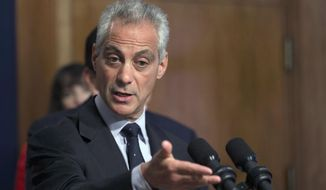 In this July 1, 2015 file photo, Chicago Mayor Rahm Emanuel speaks at a news conference in Chicago. Cook County Judge Rita Novak issued a written ruling Friday July 24, 2015 that a 2014 law aimed at reducing multibillion-dollar shortfalls in two of Chicago's pension funds is unconstitutional. Mayor Rahm Emanuel argued that without the changes the funds will be insolvent in a matter of years. (AP Photo/Christian K. Lee/File)