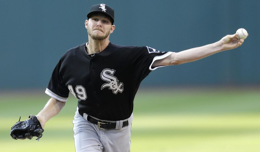 Chicago White Sox starting pitcher Chris Sale delivers in the first inning of a baseball game against the Cleveland Indians, Saturday, July 25, 2015, in Cleveland. (AP Photo/Tony Dejak)